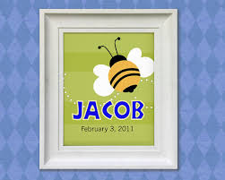 Bumble Bee Nursery Decor Bumble Bee Print 11x14 Personalized Baby Room Nursery Decor