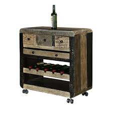 Reclaimed Wood Bar Cabinet Grey Industrial Reclaimed Wood Rolling Wine Bar Cabinet