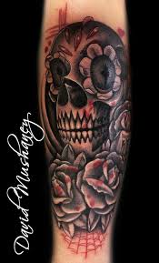 skull and sleeve and gray skull and roses