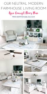 our neutral modern farmhouse living room try everything