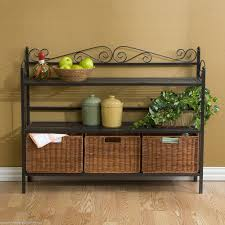 Kitchen Basket Ideas Cool Kitchen Bakers Racks Come With Rectangle Shape Brown Wooden