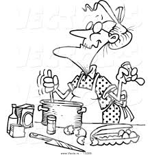 vector of a cartoon old woman baking coloring page outline by