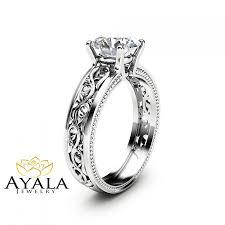 filigree engagement ring 1 55ct moissanite engagement ring unique filigree engagement ring