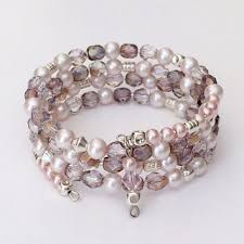 beaded bracelet glass pearl images Best spiral wire for bracelets products on wanelo jpg