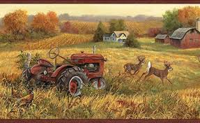Wallpaper Barn Ll50221b Fall Deer And Farm Scene Wallpaper Border Wallpaper
