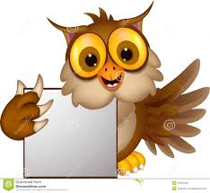 cute owl cartoon holding blank sign royalty free stock photos