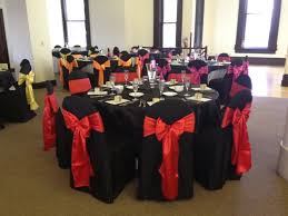 black chair sashes black chair covers with fuchsia orange yellow satin sashes