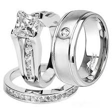 his and wedding rings stlos256 artm3640 his 925 sterling silver princess wedding
