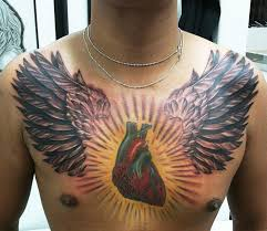 winged color ink 3d on chest tattooshunt com