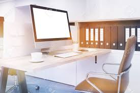 bureau d ontable comfortable workspace at modern office folders on shelf big