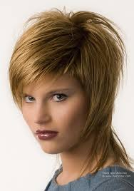 how to cut a short ladies shag neckline strawberry blonde chopped shag haircut with hair that covers the