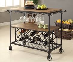 industrial serving wine cart rolling table rustic bar rack metal