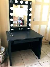 black vanity set with lights lighted makeup mirror vanity table pertaining to with design 17