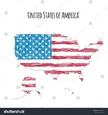 Outline Of America Map by Us Map Handdrawn Flag Isolated On Stock Vector 390929647