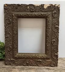 antique dark gold wooden picture frame plaster molding vintage