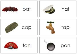 words cards rhyming words pictures level 1 montessori print shop