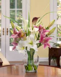 Calla Lily Home Decor Magnolias U0026 Orchids Silk Flower Arrangement Office And Home Decor