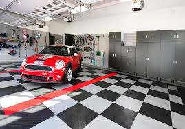 garage design ideas with cabinet and hanger compartment for the minimalist garage design ideas decorated with contemporary style using black and white tile flooring and grey