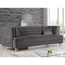 Gray Nailhead Sofa Meridian Furniture 609grey S Lucas Grey Tufted Velvet Sofa W