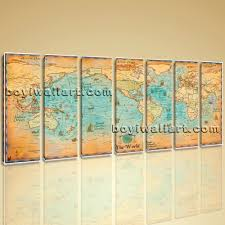 World Map Art Print by World Map Global Hd Canvas Print Retro Giant Picture Wall Art Decor