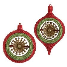 and green ornaments by raz imports