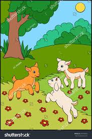 cartoon farm animals kids three baby stock vector 559376032