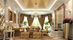 gold curtains for luxury living room with recent interior design