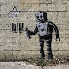 artwork on wood robot wall print on wood