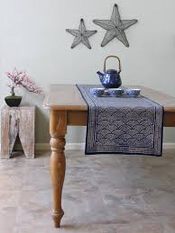 Navy Blue Table Runner Rustic Navy Blue Table Runner Asian Insipired Table Runner