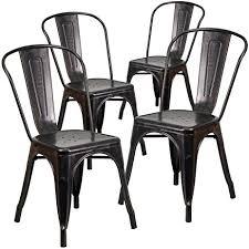 B Q Bistro Chairs Amazon Com Flash Furniture 4 Pk Black Antique Gold Metal Indoor