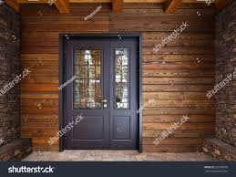 steel door house wall made wood stock photo 520780978