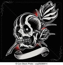 skull ribbon vector clip of skull and ribbon in school tattoo