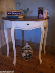 shabby chic french style chalk white console hall table desk half