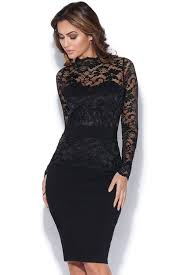 sleeved black dress sleeved lace bodycon dress in black vestry