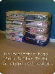 use comforter bags dollar tree store to store clothes