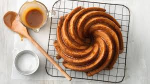 one bowl caramelized banana bread bundt cake with salted caramel