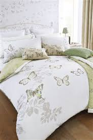 buy butterfly printed bed set reversible green and cream