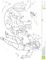 mermaid and prince coloring page stock illustration image 58341238