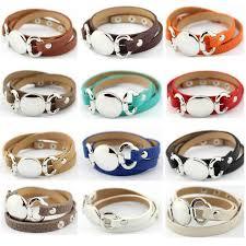 leather cuff wrap bracelet images Wholesale silver blank disk multiple wrap leather bracelet women jpg