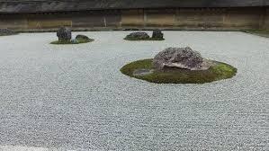 details of the beautiful rock garden at ryoan ji temple a zen