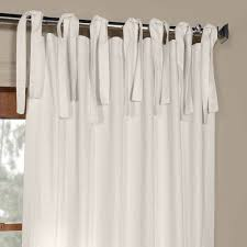 Tie Top White Curtains Exclusive Fabrics Solid Cotton Tie Top Curtain Free Shipping On