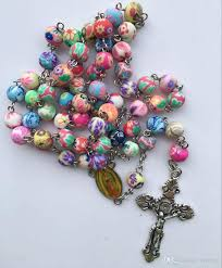 catholic rosary online fashion cross jesus necklace with polymer clay rosary
