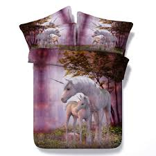 Luxury Super King Size Bed Comforter Sets Beautiful 3d Mother And Baby Unicorn Childrens Hd
