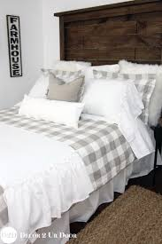 Red Gingham Duvet Cover Farmhouse Tan Gingham Check Plaid Custom Designer Duvet Cove