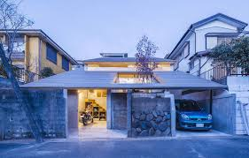 Slanted Roof House Chic Japanese House Integrates Old Retaining Wall With Woodsy