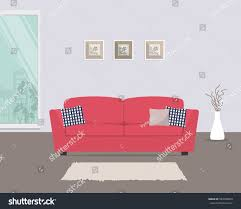 Living Room With Red Sofa by Living Room Red Sofa Pillows There Stock Vector 583369834