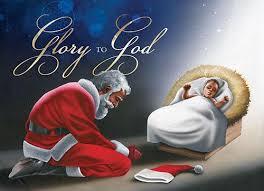 santa kneeling at the manger to god manger american christmas card box set of