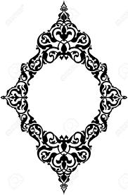 23185871 ornamental eastern design border frame monochrome stock