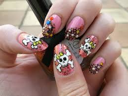 cute halloween nails cute skulls on girly pink polish halloween nail art youtube