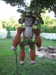 pot monkey by debbie claypots for out doors pinterest monkey